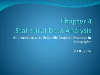 Chapter 4 Statistical Data Analysis