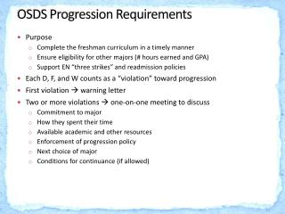 OSDS Progression Requirements