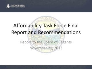Affordability  Task Force  Final Report and Recommendations