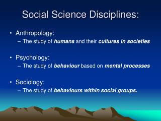Social Science Disciplines: