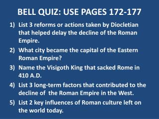 BELL QUIZ: USE PAGES 172-177