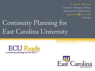 Continuity Planning for  East Carolina University