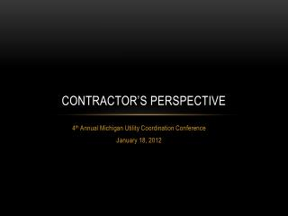 Contractor's Perspective