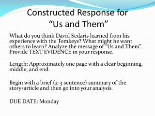 "Constructed Response for  ""Us and Them"""