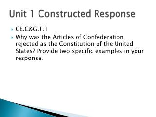 Unit 1 Constructed Response
