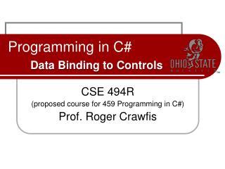 Programming in C# Data Binding to Controls