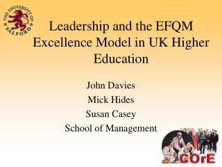 Leadership and the EFQM Excellence Model in UK Higher Education
