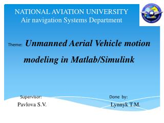 NATIONAL AVIATION UNIVERSITY Air  navigation Systems Department