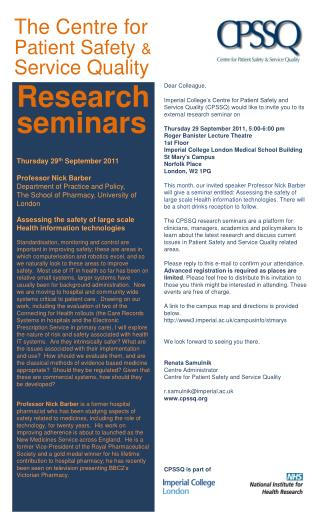 Research seminars  Thursday 29 th  September 2011  Professor Nick Barber
