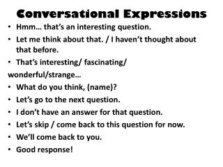 Conversational Expressions