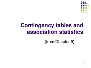 Contingency tables and association statistics