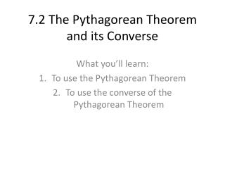 7.2 The Pythagorean Theorem and its Converse