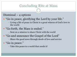 Concluding Rite at Mass