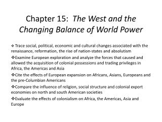 Chapter 15:   The West and the Changing Balance of World Power