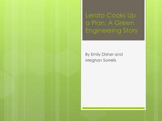 Lerato  Cooks Up a Plan: A Green Engineering Story