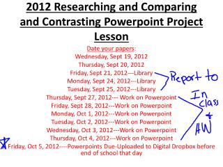 2012 Researching and Comparing and Contrasting  Powerpoint  Project Lesson