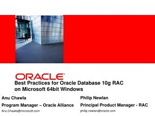 Best Practices for Oracle Database 10g RAC  on Microsoft 64bit Windows