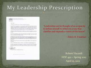 My Leadership Prescription