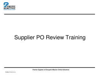 Supplier PO Review Training
