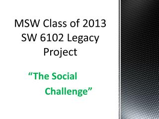MSW Class of 2013 SW 6102 Legacy Project