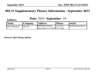 802.11 Supplementary Plenary Information - September 2013