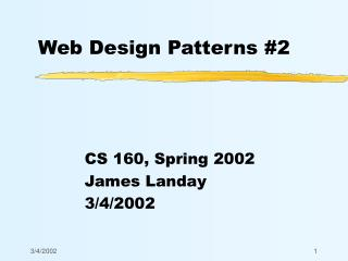 Web Design Patterns #2
