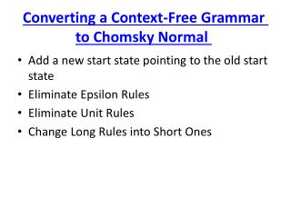Converting a Context-Free Grammar to Chomsky Normal