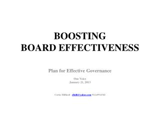 BOOSTING  BOARD EFFECTIVENESS