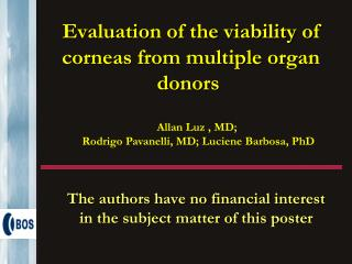Evaluation of the viability of corneas from multiple organ donors