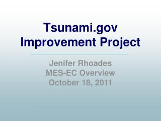 Tsunami Improvement Project