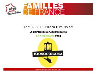 FAMILLES DE FRANCE PARIS XV