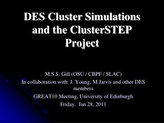 DES Cluster Simulations and the  ClusterSTEP  Project