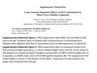 Supplementary Material for Large, Sequence-Dependent Effects on DNA Conformation by