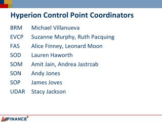 Hyperion Control Point Coordinators
