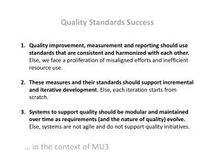 Quality Standards Success