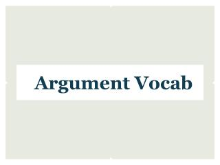 Argument Vocab