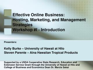 Effective Online Business:  Hosting, Marketing, and Management Strategies Workshop #I - Introduction