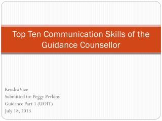 Top Ten Communication Skills of the Guidance Counsellor