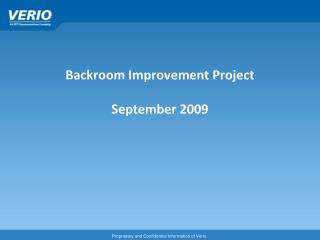 Backroom Improvement Project September 2009