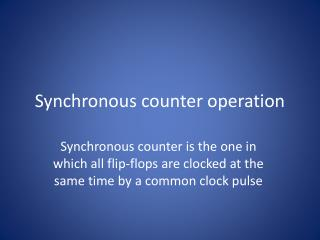 Synchronous counter operation
