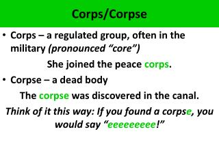 Corps/Corpse