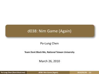 d038:  Nim  Game (Again)