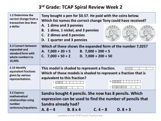 3 rd  Grade: TCAP Spiral Review Week 2