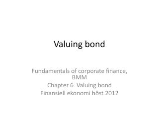 Valuing bond