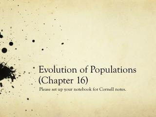 Evolution of Populations (Chapter 16)