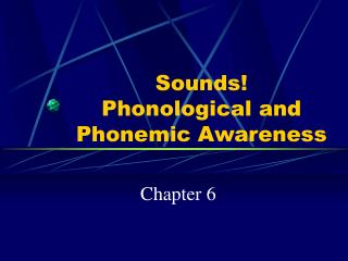 Sounds!  Phonological and Phonemic Awareness