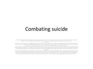 Combating suicide