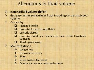 Alterations in fluid volume