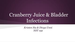 Cranberry Juice & Bladder Infections