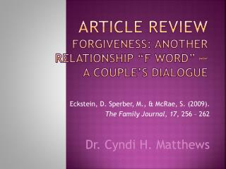 "Article Review Forgiveness: Another Relationship ""F Word"" -–  A Couple's Dialogue"